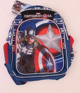 Marvel Captain America Boys Backpack Bookbag 15 inch Diagonal NWT