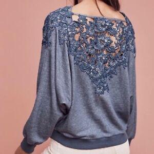 Anthropologie-Meadow-Rue-Women-039-s-Bria-Blue-Crochet-Dolmen-Sweatshirt-Top-Small
