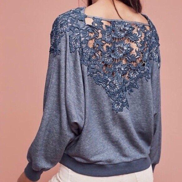 Anthropologie Meadow Rue Women's Bria Blue Crochet Dolmen Sweatshirt Top Small