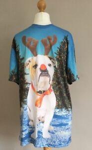 Mens-H-amp-M-Christmas-Boxer-Dog-Tree-Snow-T-Shirt-Size-Small
