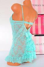 NWT Victoria's Secret Lingerie Lace Babydoll Push-up Bra 36B Ruffled Turquoise