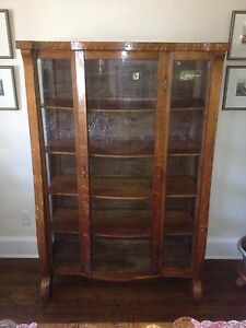 Exceptionnel Image Is Loading Beautiful Antique Oak China Cabinet Curved Glass Front