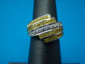 Canary Yellow CZ Fashion Ring .925 Sterling Silver Size 5