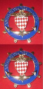 Yacht Club De Monaco Automobilia set Of 2pcs Car Grill Badge Emblem Enamled Logos