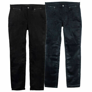 MAC Slim Velvet Stretch Jeans Pants Ladies Black Blue Straight Fit Leg