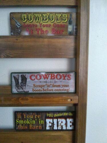 """Set of Three 10.5/"""" x 3.5/"""" Tin Metal Signs Wall Hang Decor Cowboys"""