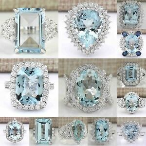 Large-Women-Jewelry-925-Silver-Aquamarine-Gemstone-Wedding-Bridal-Ring-Size-6-10