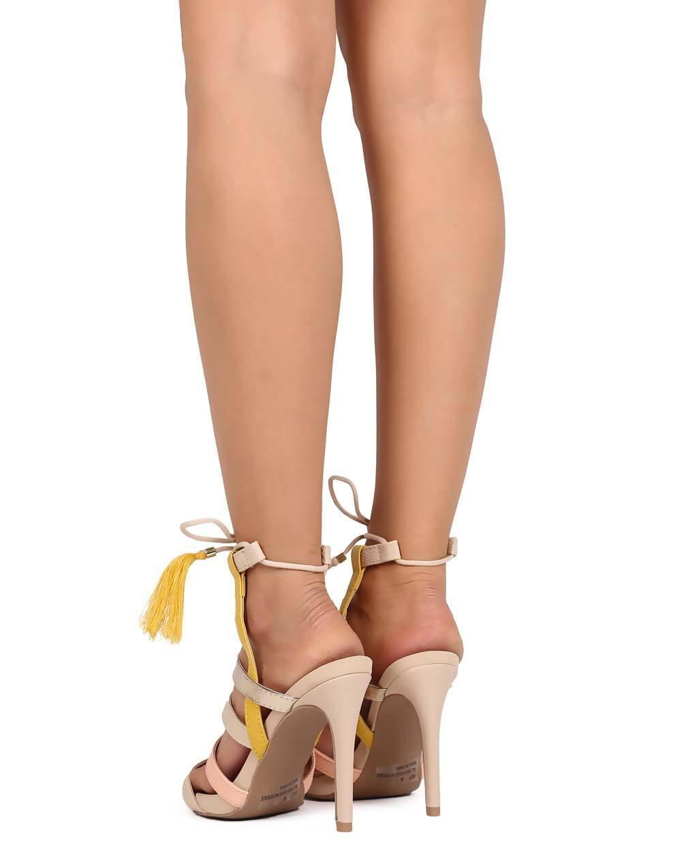 New Caged Women Qupid Grammy-130 Mix Media Open Toe Caged New Tassel Wrap Sandal Size 46e5fb