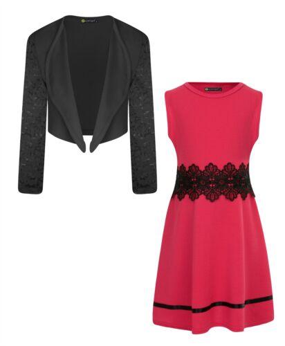 Girls Skater Sleeveless Dress Bundle with Lace Sleeve Bolero 3-14 Years