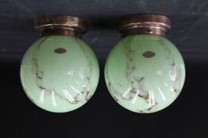 2 x alte Deckenlampe 30er Jahre true vintage Lampe Kunstglas Mamor Schirm SET