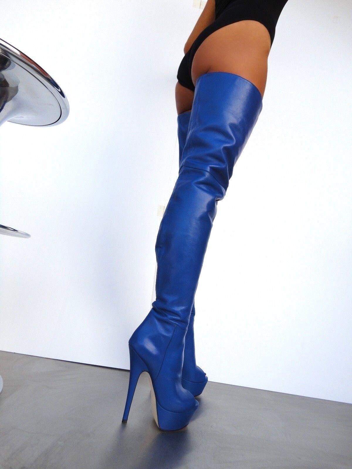 CQ COUTURE silverFORMA PEEP TOE OVERKNEE BOOTS STIEFEL BOTAS BOTAS BOTAS LEATHER blue blue 35 35d9f9