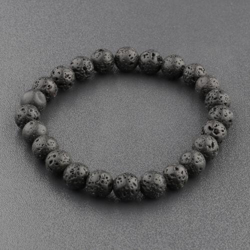 Hommes Femmes 6//8//10mm Natural Rock Lava Pierre Perles Bracelets Bijoux élastique Yoga
