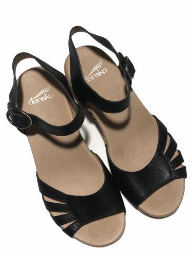 Dansko Women's Black Leather Open Toe Strap Sandal