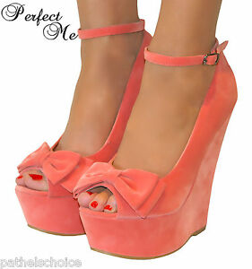 LADIES-CORAL-PINK-PEEP-TOE-BOW-HIGH-WEDGE-HEELS-SHOE-SANDAL-EVENING-PARTY-3-8