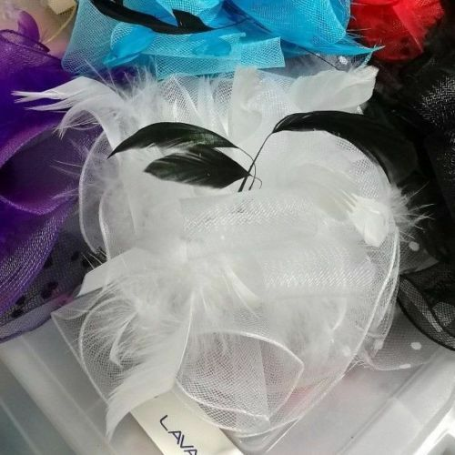 NEW Hair Clip fascinators Melbourne Cup Spring Races wedding fascinator White