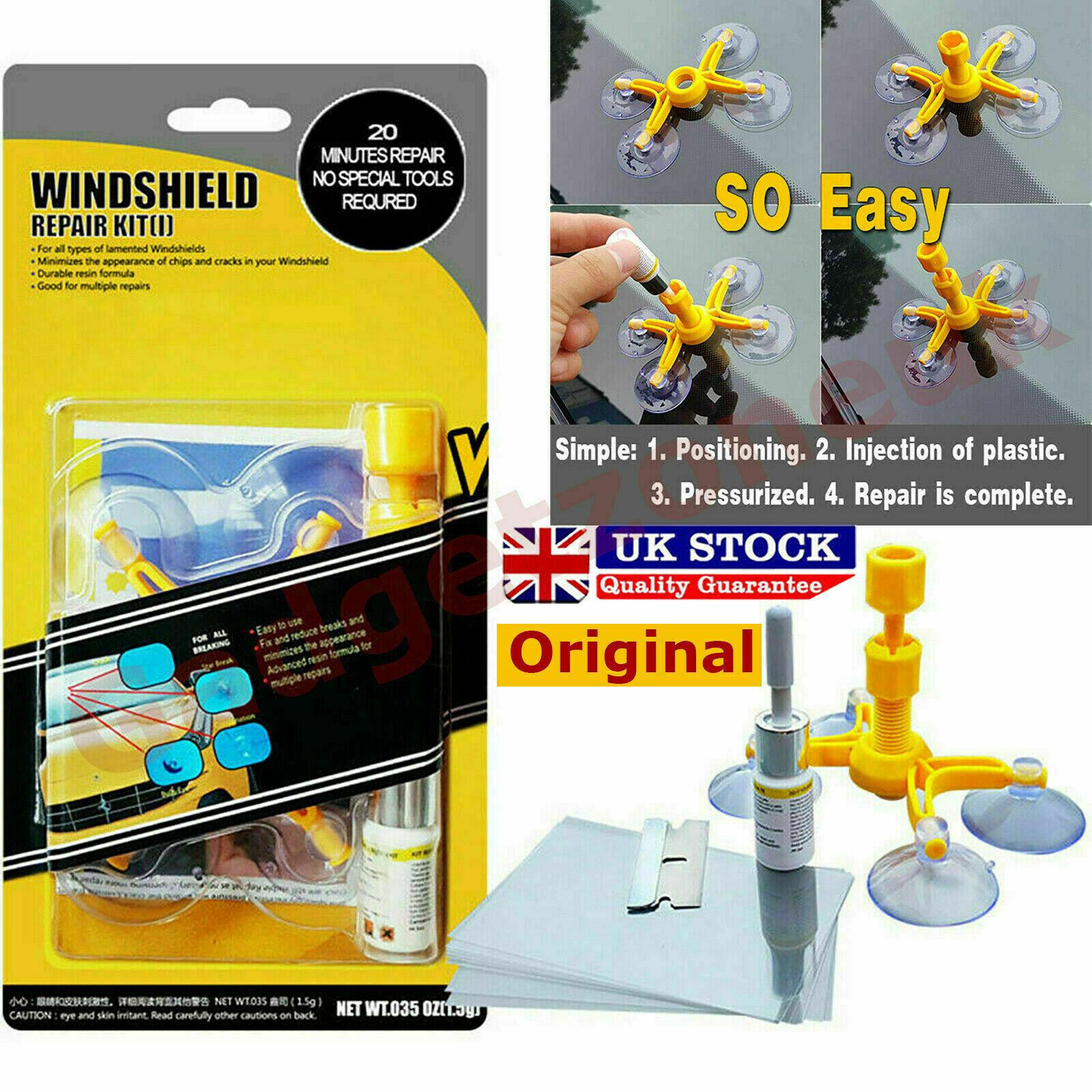 Windshield Repair Kit Fix Glass Chip Crack Car Windscreen Wind Screen Window UK