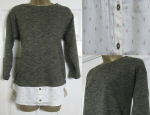 NEW-M-amp-S-Womens-Mock-Layered-Shirt-Jumper-Top-3-4-Sleeve-Khaki-Cream-Size-8-24