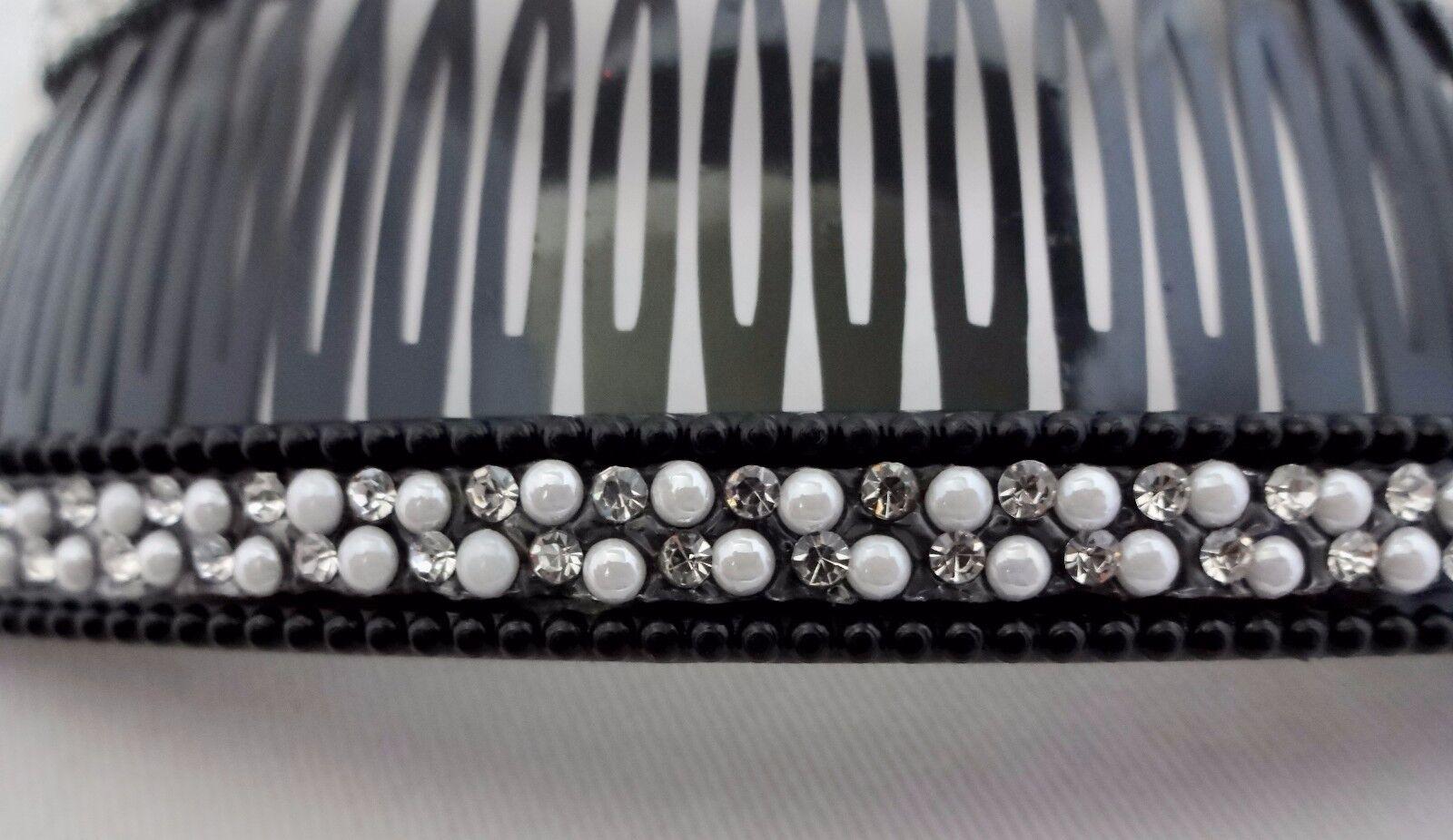 Rhinestone Pearl Hair Combs Set Of 2 Black Plastic Jumbo 5.5 Inches Wide
