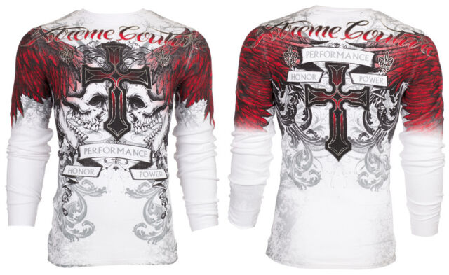 XTREME COUTURE by AFFLICTION Mens THERMAL T-Shirt CARNIVORE Skulls Biker UFC $58