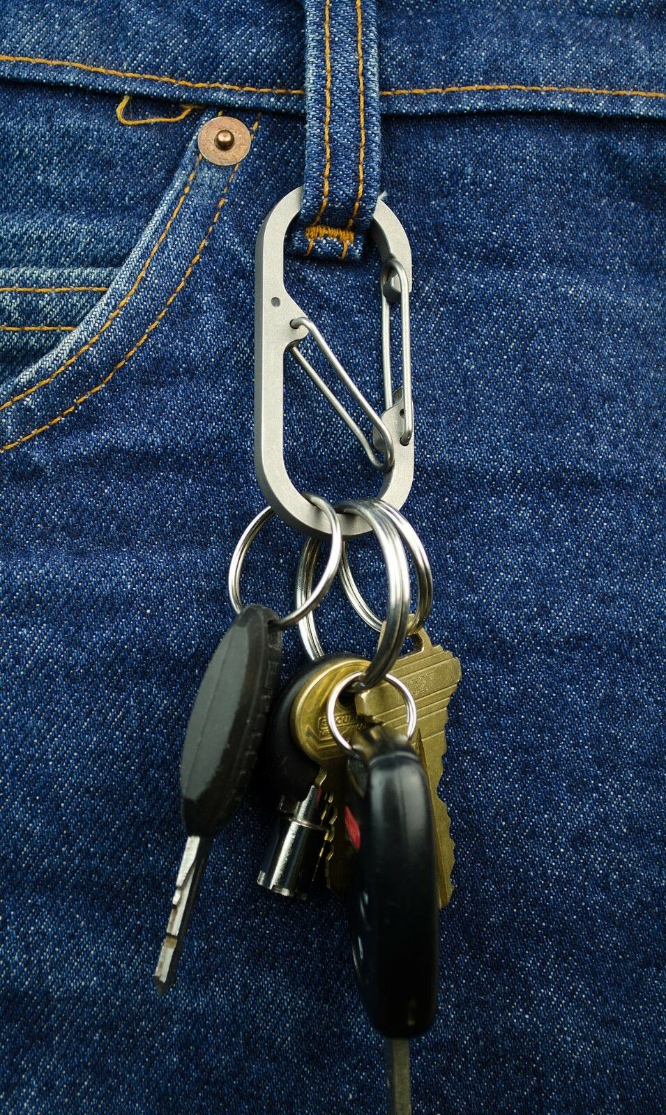 Titanium Binary Carabiner   Safety Cage   with Bottle Opener   EDC   IOMAA