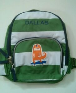 Details About Pottery Barn Kids Preschool Mini Fairfax Green Stripes Backpack Name Dallas New