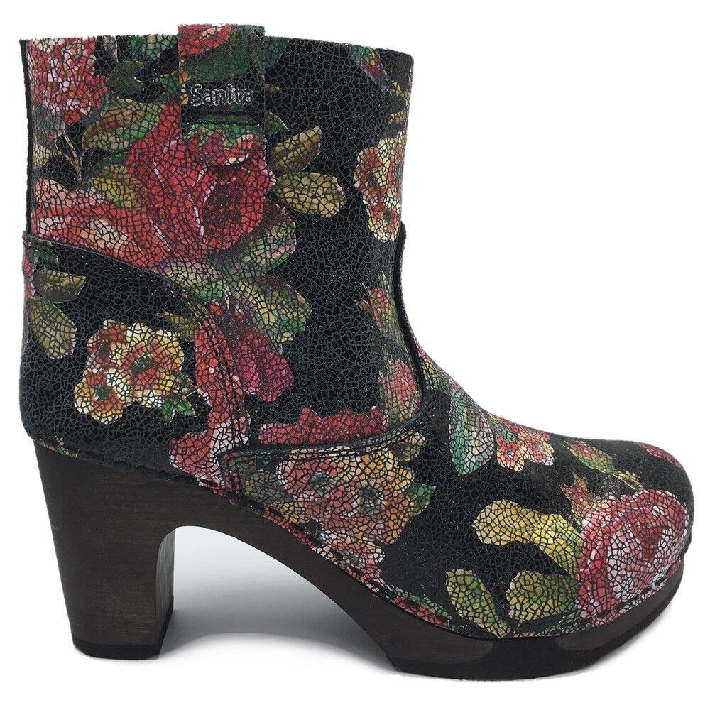 Wooden Sanita /'Peggy-Sue/' Jodhpur Clog Boots in Black Art:454222