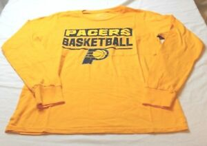purchase cheap f71f9 85f53 Indiana Pacers NBA Men's Long Sleeve T-Shirt Majestic Gold ...