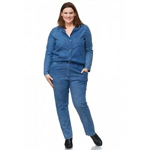 Jumpsuit-Overall-Jeans-overall-Hose-Cotton-Lagenlook-jeansblau-Gr-44-46