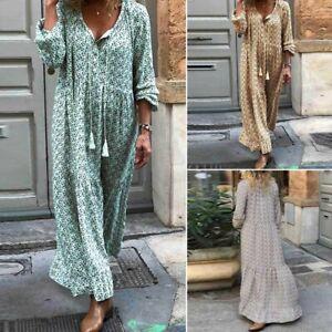 ZANZEA-femmes-a-manches-longues-lache-Caftan-Col-V-Floral-Maxi-Soiree-Robes