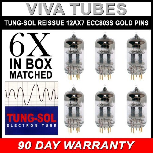 Vacuum Tubes New Tung-Sol Reissue GOLD PIN 12AX7 ECC83 GAIN MATCHED Sextet 6