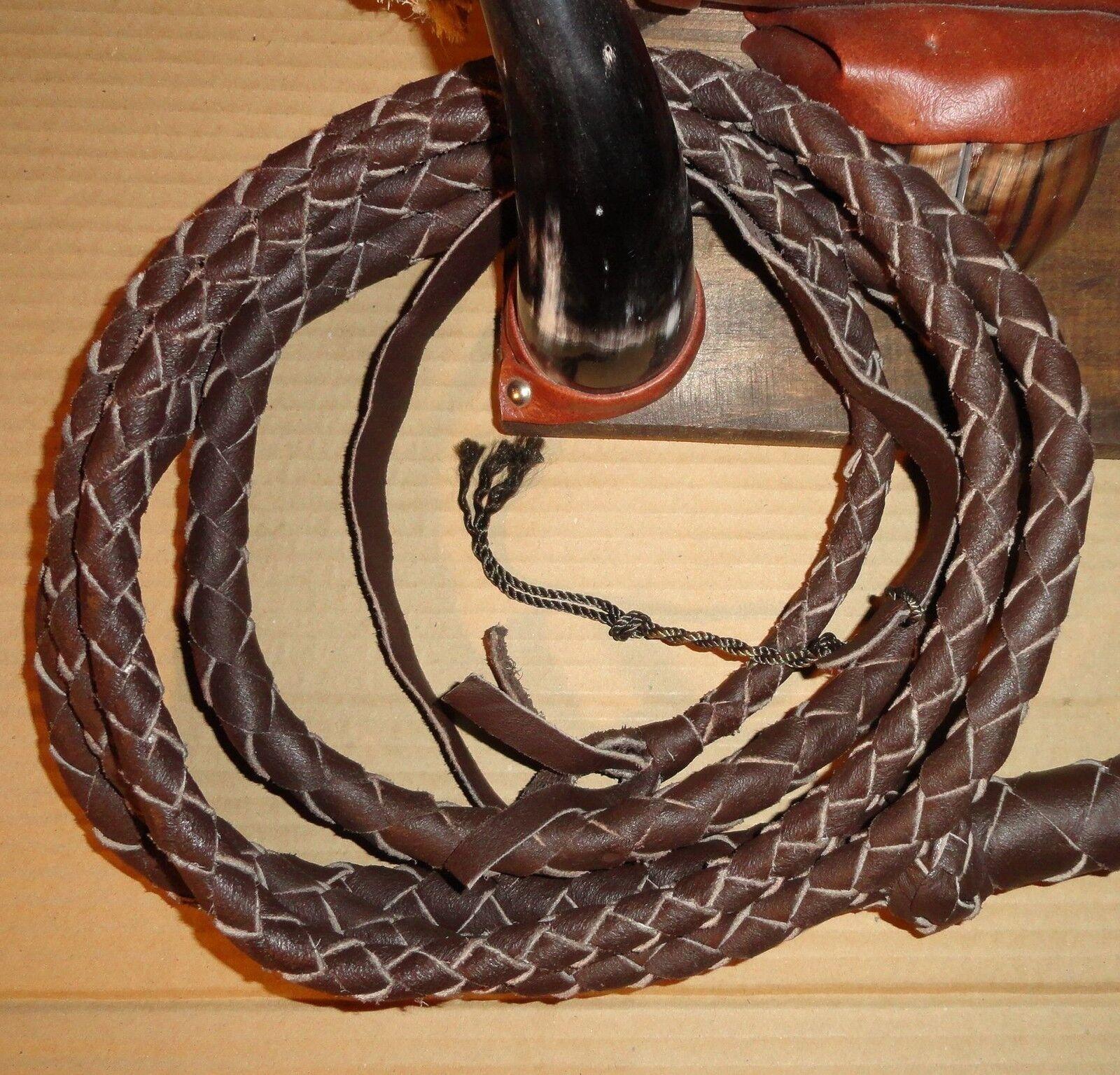 20 foot 4 plait Dark Brown Leather INDIANA Jones  Stunt BULLWHIP BULL WHIP Whips  store online