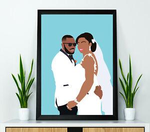 Digital Portrait from Photo, Custom Wedding Anniversary Caricature Modern Art