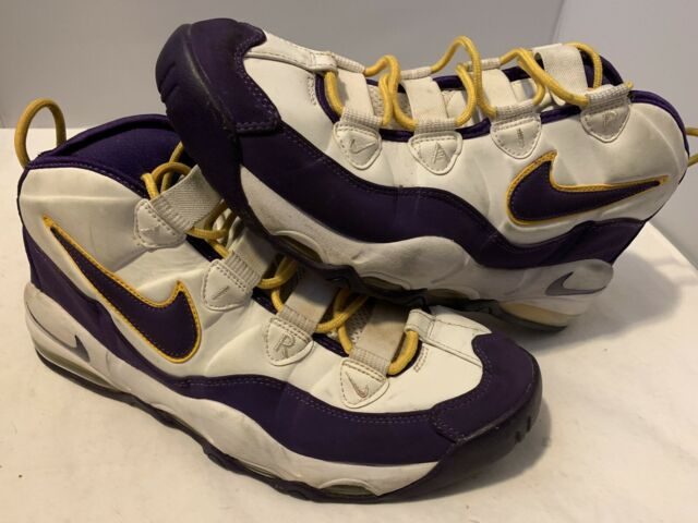 2276ad5039 Men's Nike Air Max Uptempo Lakers White Purple Basketball Shoes ...