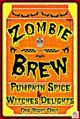 ZOMBIE BREW 8X12 METAL SIGN HALLOWEEN BAR HAPPY HOUR HAUNTED HOUSE PROP BEER ALE