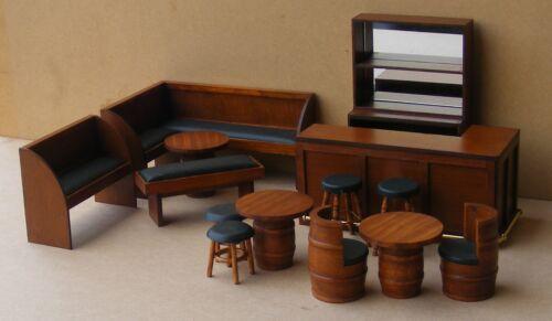 Escala 1:12 7cm Mesa cuadrada de madera barril con una tapa de cristal tumdee Casa De Muñecas