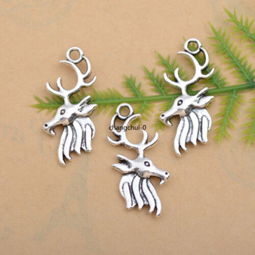 10//30//50Pcs Tibetan Silver Deer Animal Charm Collier Bracelet Pendentif DK231