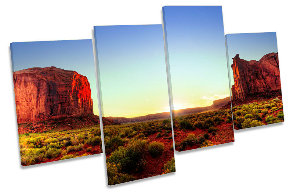 Monument Valley Sunset Landscape MULTI CANVAS WALL ART Framed Panel