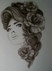 Femmes-Lady-roses-Step-by-Step-AIRBRUSH-STENCIL-modele-Craft-Peinture-Reutilisable