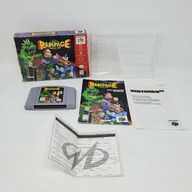 Rampage World Tour (Nintendo 64, 1997) Completo Caja Manual Cartucho en Caja probado y funciona