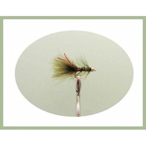 goldhead /& Non Pondérée Flash Damsel Trout Flies Pack 24 Standard /& mini