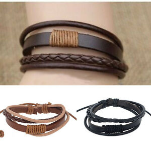 Fashion Mens Punk Handmade Black Brown Leather Surfer ...