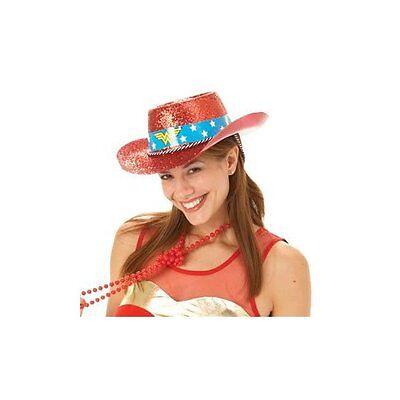 DC Comics Wonder Woman Dress Up Rosso Glitter Cappello Da Cowboy Nuovo con Etichetta