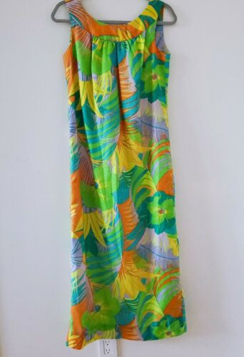 Vtg Malia Honolulu Maxi Dress Mod 1960's 70's