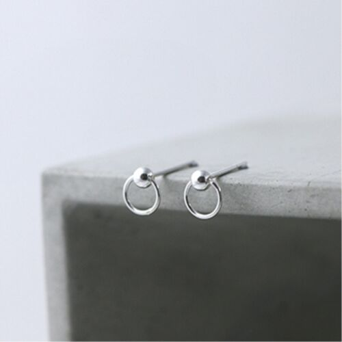 Solid 925 Sterling Silver Bead Ball Round Circle Dot Post Disc Stud Earrings