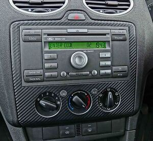 ford focus black carbon fibre radio dash mk2 st rs zetec st 3 tdci ebay. Black Bedroom Furniture Sets. Home Design Ideas