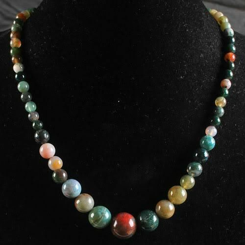 Beautiful 6-14mm Multicolor Agate Beaded Gems Pendant Necklace