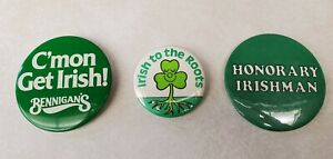 Irish-Pride-Vintage-Pinback-Lot-of-3-Honorary-Irishman-Irish-to-the-Roots
