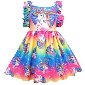 dbaf9d63dab0 Image is loading Girls-Rainbow-Tutu-Dress-Toddler-Kids-Unicorn-Princess-