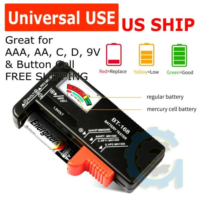 Battery Tester 9V LCD Button Small Volt Tester Checker For AAA //AA// C// D UP
