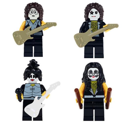 █ 4pcs Set █ Kiss Rock Band Paul Stanley MOC Mini Figure Bricks Toys Gift WM6022